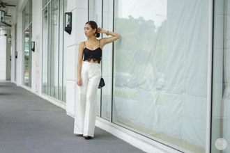 kryzuy blogger high waisted pants crop tops black and white top jewels bag t-shirt pants shoes