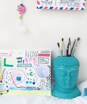 buddha,pencils,indie,boho,painting,cute,gypsy,desk