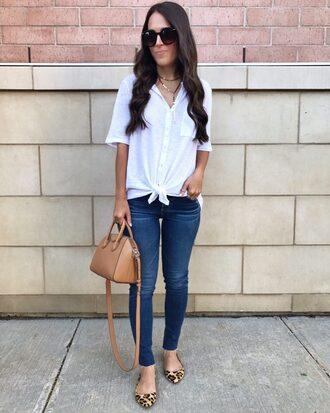 mrscasual blogger top jeans bag jewels sunglasses handbag ballet flats skinny jeans