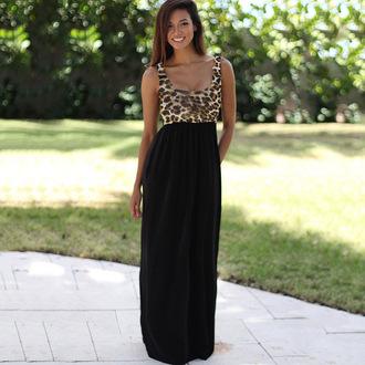 dress maxi dress long dress leopard print black party dress evening dress