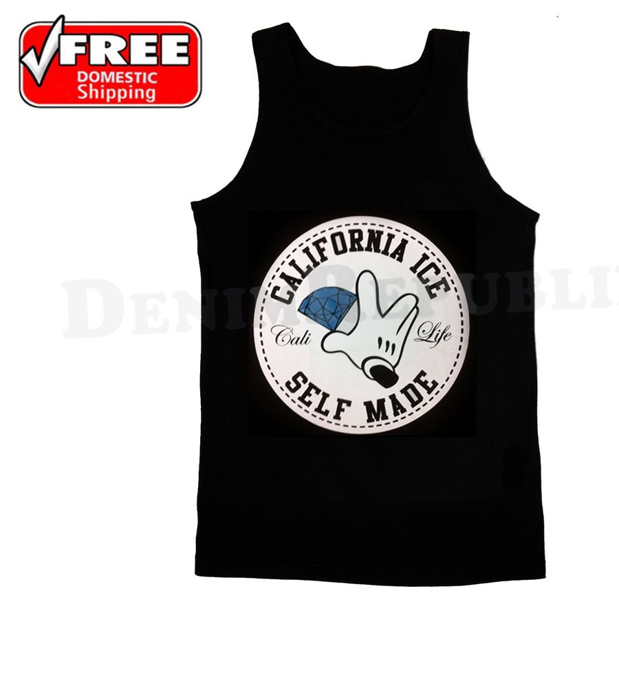 California Ice Self Made Blue Diamond Black Men's Tank Top Cali Life New T Shirt | eBay