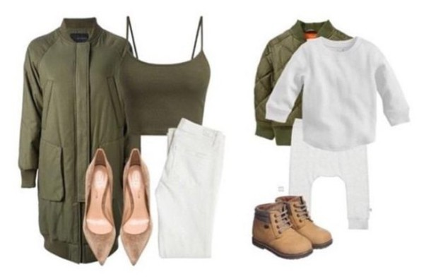Jacket: matching set green jacket bomber jacket toddler women