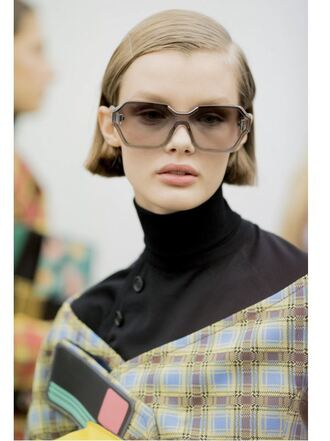 sunglasses prada milan fashion week 2016 model top turtleneck