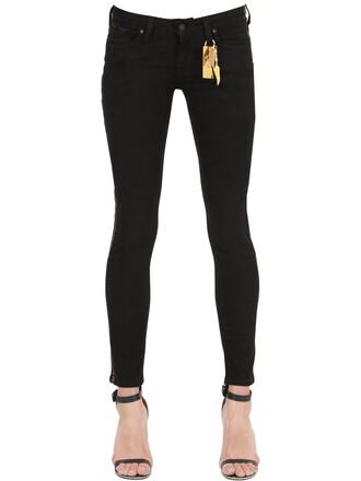 jeans denim stripes gold black