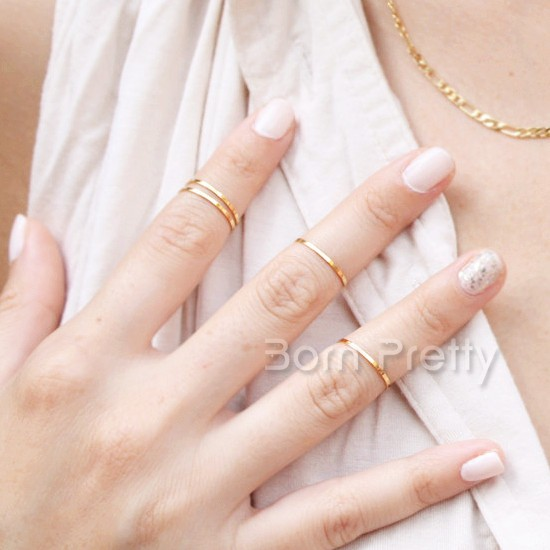 $0.59 1pc Fashion Simple Ring Gold and Silver Colors In - BornPrettyStore.com