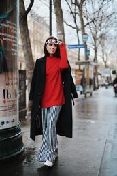 style scrapbook,blogger,pants,coat,shoes,sweater,black coat,striped pants,red sweater