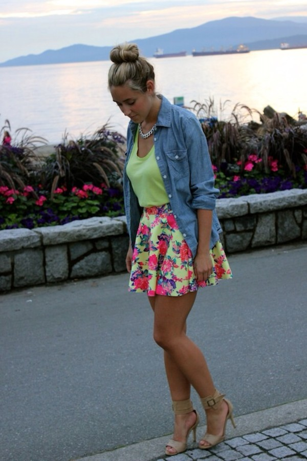 skirt floral floral skirt skater skirt skirt yellow pink purple blue clothes shirt shoes