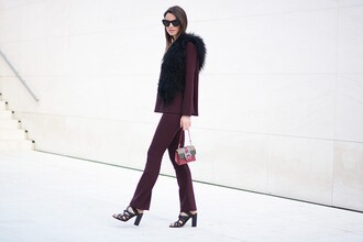 faux fur vest plum black heels mini bag pants shoes sunglasses bag top jewels mini shoulder bag