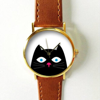 jewels watch handmade style fashion vintage etsy freeforme gift ideas peeping caat peep cats black cat summer spring new