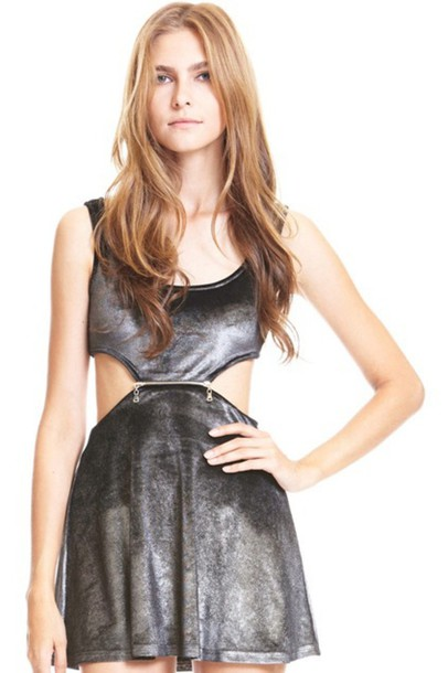 dress silver velvet cut-out