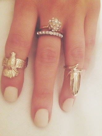 jewels nails eagle jewelry ring rings and tings gold gold ring knuckle ring boho boho jewelry