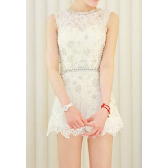 pearl skirt dress fashion clothes white dress lace dress