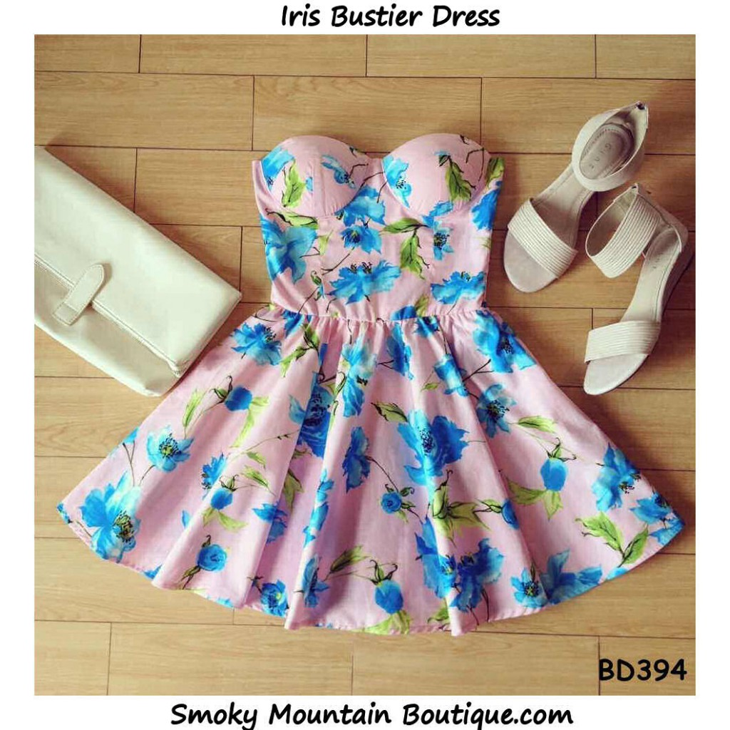 Iris Floral Bustier Dress with Adjustable Straps - Size XS/S/M BD 394 - Smoky Mountain Boutique