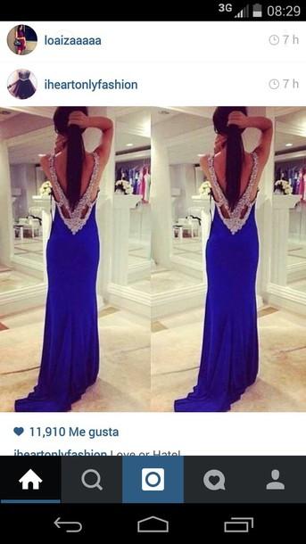 dress beaded dress prom dress blue dress prom dress bejeweled dress backless prom dress
