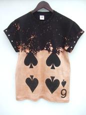 shirt,t-shirt,dip dyed,six of spades,spades,grunge,playing card,tappingtonandwish