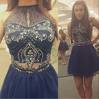 dress prom dress tulle skirt navy navy dress