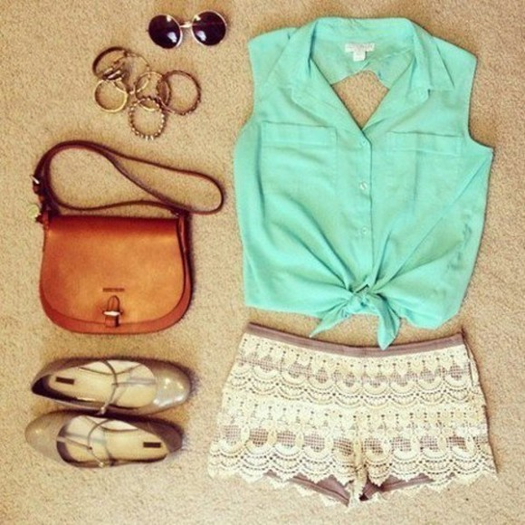 shirt bag shorts shoes mint green mint blouse top short sunglasses bracelets summer set bracelets summer outfits cut out back teal tie up blue shirt belly shirt