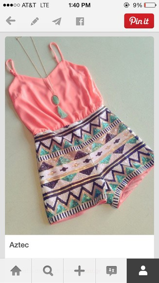 aztec aztec short peach jewels romper