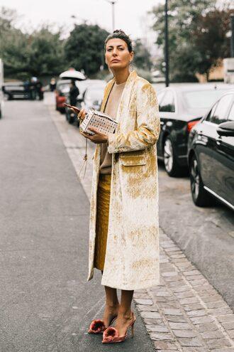 coat tumblr velvet velvet coat yellow yellow coat skirt midi skirt shoes velvet shoes streetstyle