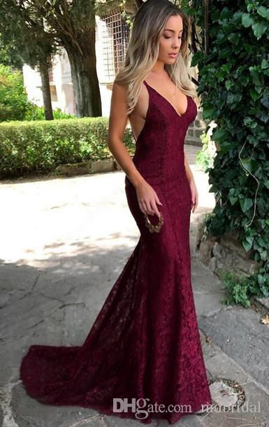 Girls Long Prom Dress Very Sexy Deep V Neck Mermaid Lace Long Party