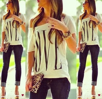 t-shirt white t-shirt one shoulder love