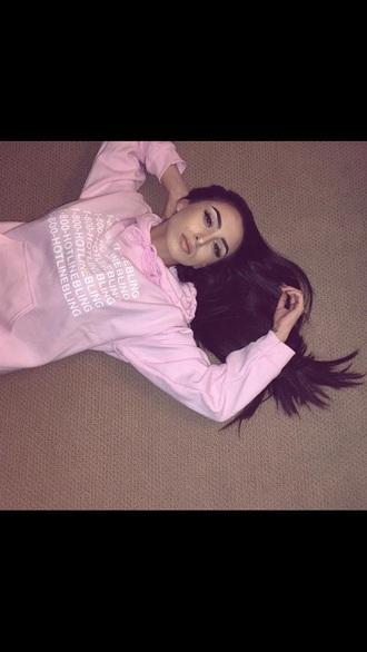 sweater hotline bling urban pastel pink pink sweater hoodie pink jumper drake white