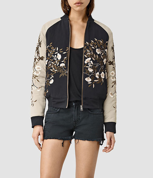 Jacket silk bomber embroidered