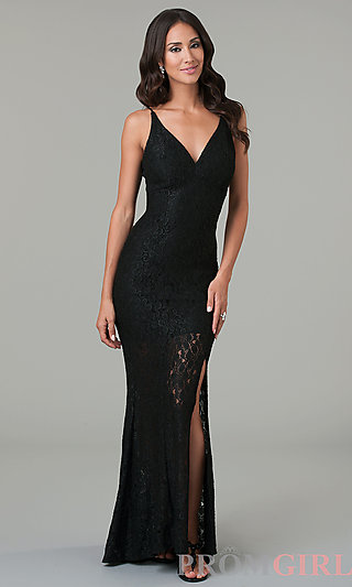 Prom Dresses, Celebrity Dresses, Sexy Evening Gowns - PromGirl: Floor Length Spaghetti Strap Lace Dress