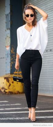 pants,high waisted black pants,top,bag,blouse,shirt,white shirt,white blouse,high waisted jeans,black jeans,heels,white,flowy,locks and trinkets,blogger,asymmetric shirt,jeans,sandals,sandal heels,high heel sandals,black bag,sunglasses,black sunglasses,asymmetrical top