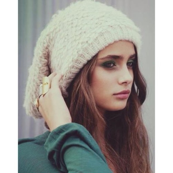 hat cream #weheartit #woolly #soft beanie knitwear