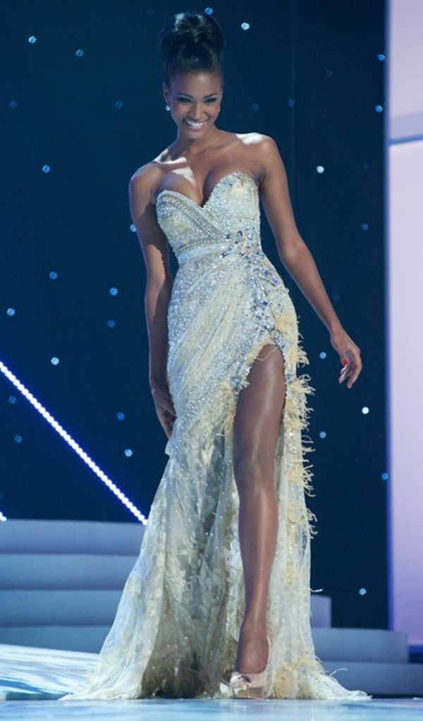 dress prom dress silver dress sparkle long dress sweetheart dress strapless feathers sequence leg opening white sparkly dress prom nude leila lopes miss universe prom dress fancy dress gorgeous dress prom2k14 glitz cleavage sweet heart