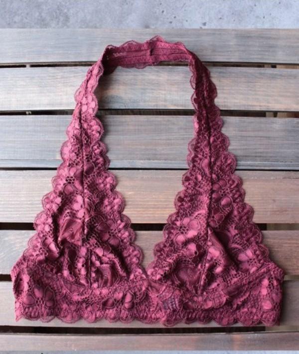 underwear girly lace lace lingerie bralette burgundy