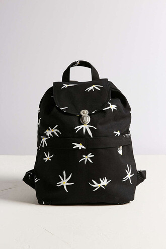 bag floral backpack black backpack black bag urban outfitters flowers black and white