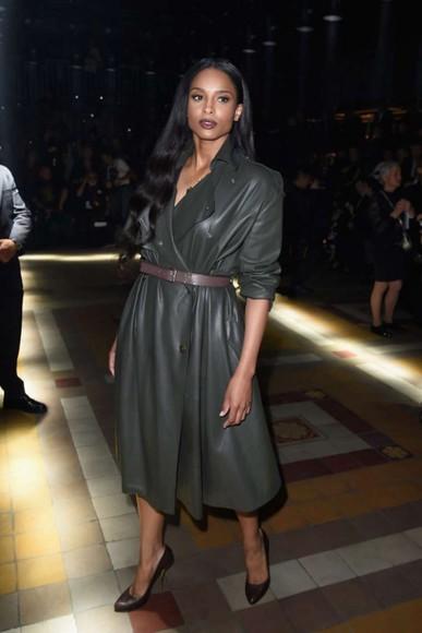 leather dress coat fall outfits ciara fashion week 2014