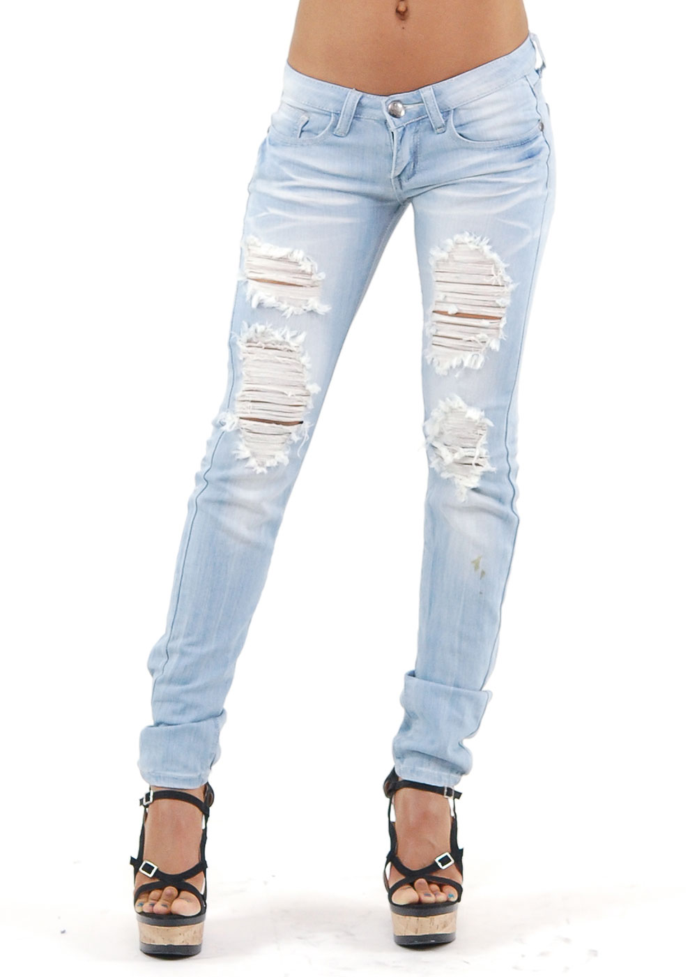 Jeans - Distressed Machine Jeans - Cute Denim Jeans - $32.99
