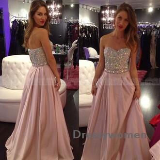 dress prom dress prom sexy pink soft pink evening dress bling wedding party dress fashion party maxi dress
