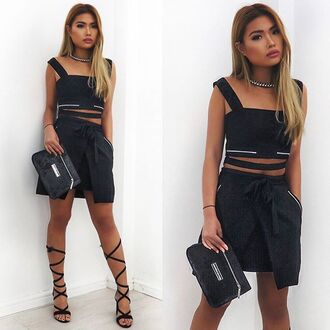 skirt maniere de voir wrap mini midi d-ring crop top black co-ord co-ordinates