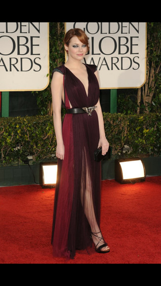 dress prom dress red carpet emma stone golden globes purple dress