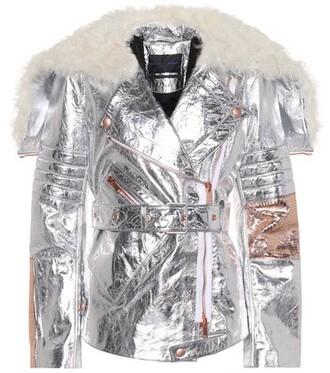 jacket biker jacket metallic leather silver