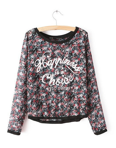 Happiness is a choice you decide floral flower chiffon shirt sweater