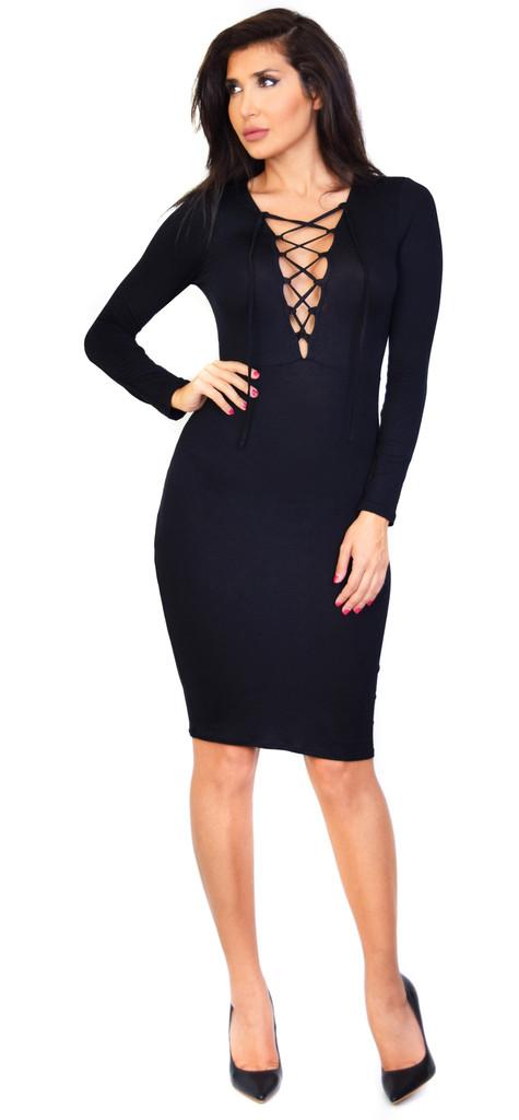 1071102633cd Emprada - Black Long Sleeve Lace Up Dress