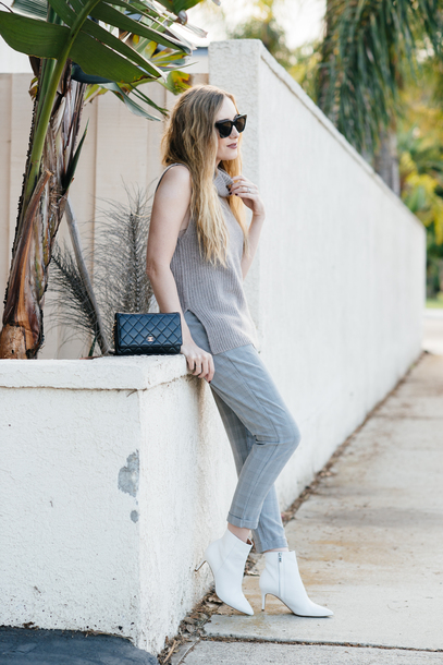 eat sleep wear blogger pants sweater shoes bag make-up ankle boots fall outfits white boots