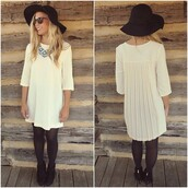 dress,amazing lace,cream,shift dress,fall outfits,ootd,pleated,chiffon,zipper detail,details,chic,classy,day to night,dress up