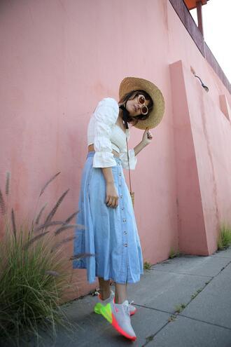 joellen love blogger top skirt shoes bag midi skirt blue skirt crop tops sneakers straw hat spring outfits