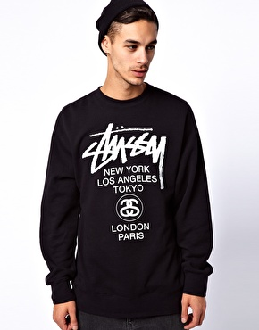 Stussy | Stussy Crew Neck Sweatshirt World Tour at ASOS