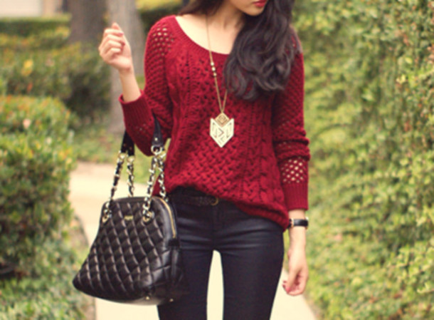 Sweater: red, dark red, leather, purse, pants, gold necklace ...