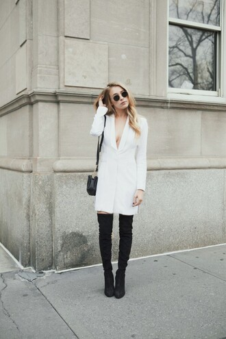 hustle and halcyon blogger white blazer mini shoulder bag thigh high boots