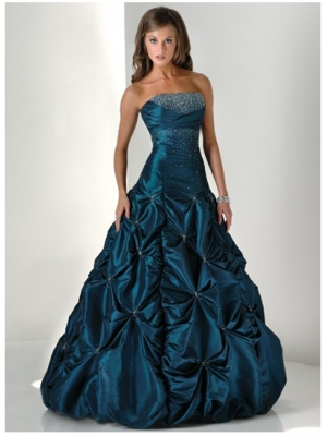 Buy Vintage Ball Gown Strapless Floor Length Ruched Taffeta Prom Dress with Beadings under 300-SinoAnt.com