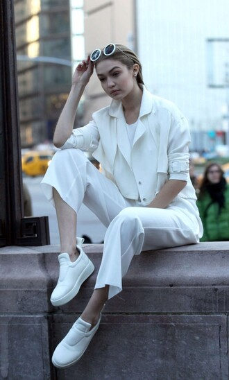pants jacket spring outfits all white everything sneakers gigi hadid model sunglasses