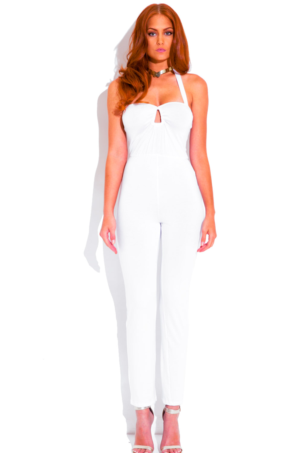cut out keyhole sweetheart fitted bodycon evening party jumpsuit ...